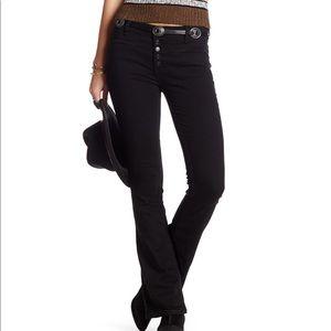 Free People Kaye Black Denim Slim Flare Jeans